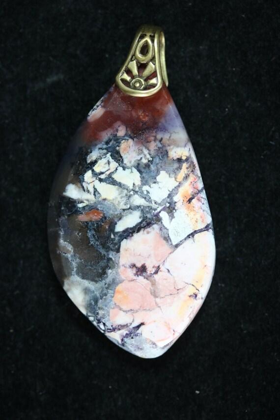 Tiffany Stone pendant, purple pink white black, brass bail 68ct