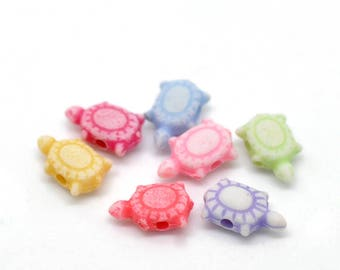 Beautiful high quality 10mm resin TURTLE beads - you get 200