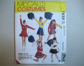 Vintage McCalls 7839 Halloween Costume Sewing Pattern - Girls Cheerleading Costume Pattern - Girls Cheerleader Size 10, 12, 14 Pattern