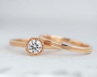 Half Carat Diamond Art Deco Engagement Ring   .50 carat Canadian Diamond Solitaire   Octagon Prong Setting   14k 18k Rose Gold