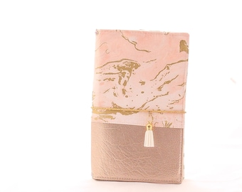 Marble and Gold Fabric Cover Fauxdori, Travelers Notebook, Standard Size