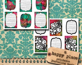 Printable Journaling Cards - Inky Doodles