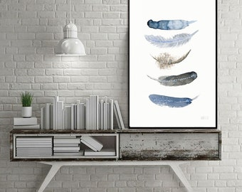 Feather art work. Feather art print from original watercolor painting by Annemette Klit. Blue art print of bird feathers. Giclee artwork.