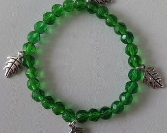 Bracelet, stretchy, green, crystal, charms, trees, leafs, woodland, gift
