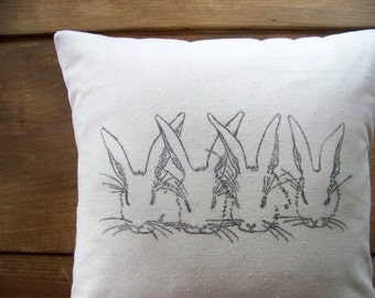 free shipping - bunny pillow cover- rabbit pillow - easter pillow - rabbits - easter decoration - bunnies - spring - nursery - gray - chi