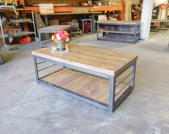 Gallagher Steel and 2 inch Wood Coffee Table