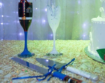 Marine Groom and Bride Wedding Dress Hand Painted Champagne Flutes Military Painted Glasses Air-force Toasting Flutes & Cake Knife an Server