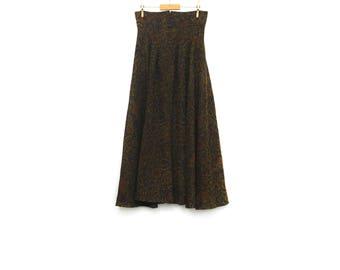 Vintage high waist skirt, small size wide long carpet curtain belt dress, green orange purple brocade pattern, medieval winter fashion 1980s