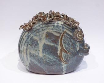 Fish in glazed stoneware Vase/flower