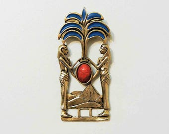 Vintage Scarab Egyptian Brass Pin Brooch With Bloodstone