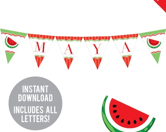 INSTANT DOWNLOAD Watermelon Party (Red) - DIY printable pennant banner - Includes all letters, plus ages 1-18