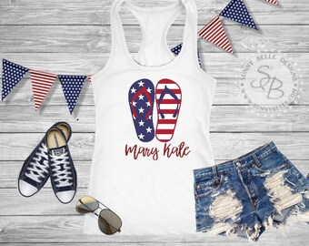 Personalized Flag Flip Flops Shirt // Ladies 4th of July Shirt // Patriotic Ladies Shirt // Bella Canvas Sleeveless Muscle / Next Level Tank