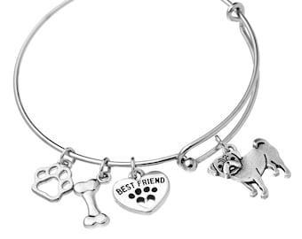 Pug Charm Bracelet, Stainless Steel Pug Bangle, Pug Jewelry, Pug Gift