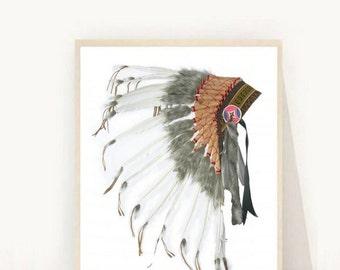 Native American Headdress, Headdress Print, Printable Art, Tribal Print, Indian Headdress, Art Print, Wall art, Wall Decor, Instant download
