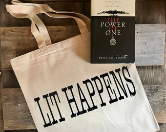 Book saying tote bag   large thick canvas