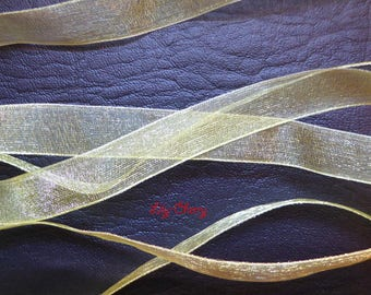 1 meter of 12 mm yellow organza Ribbon