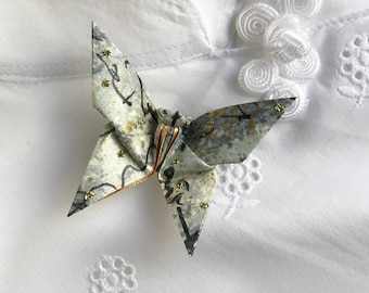 Origami Butterfly Pin (gray, gold, black)
