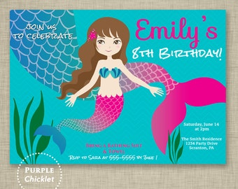 Pool Party Invite Mermaid Birthday Invitation Kids Beach Summer Swim Party Printable Personalized JPG File 97