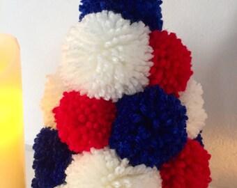 Pompom Christmas Tree Handmade Wool Pompoms Colours Alternative