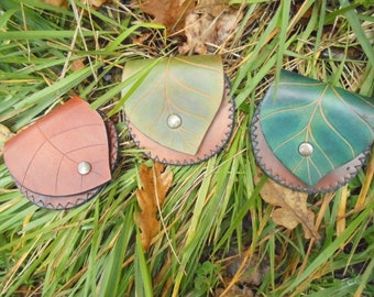 Leather wallet handmade leaf GN nature and original vegetable tanned