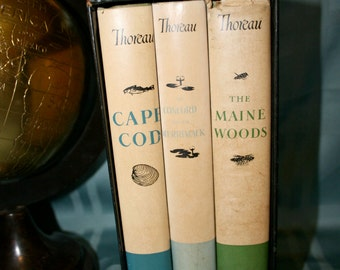 Set of Three Books By Henry David Thoreau//Cape Cod, The Maine Woods, The Concord and the Merrimack//Vintage Books