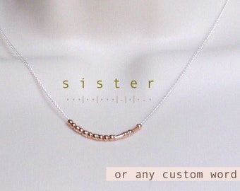 Sister Gift Necklace • Custom Morse Code Necklace • Sister Morse Code Rose Gold and Silver Choker Necklace • Graduation Gift