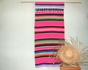 Hot Pink Mexican Wall Hanging or Tapestry Made from Mexican Serape Cloth - Sophisticated look for girl's room, party decoration