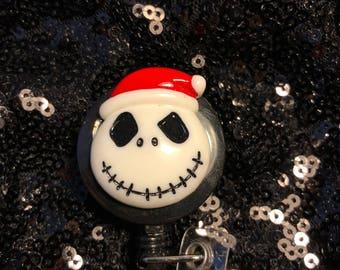 Jack Skellington Santa Retractable Badge Holder ~FREE SHIPPING~