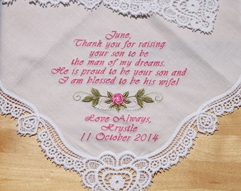 Wedding Handkerchief Gift Embroidered Personalized to Mother of Groom  (#L)