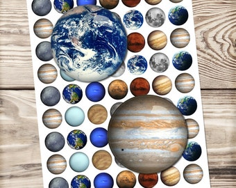 Solar system digital collage sheet, circle images, bottle cap, glass dome, printable download, earth, moon, jupiter, pluto, mars, planet