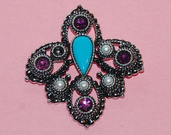 Gothic Brooch Large Chunky Silver Tone Statement Vintage Pin and Pendant