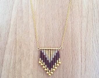 Geometric Chevron gold fan fine gold necklace