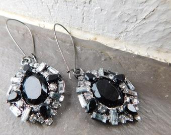 Gothika. Black & Clear Rhinestone Crystal dangle earrings