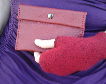 Red Leather clutch wallet recycled