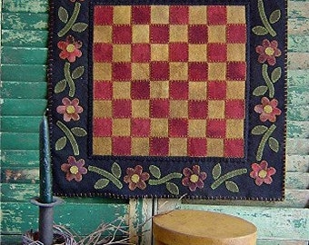 The Country Cupboard Primitive Folk Art Wool Applique Penny Rug Hooked Rug Hooking Pattern Checkered Floral