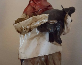 Folk pair peasant mache dolls