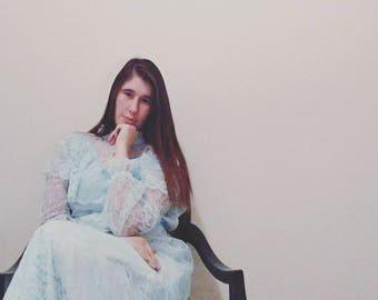 Baby Blue Full Length Vintage 1960s Dress