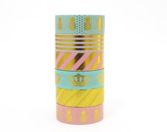 Gilded Washi Tape Set Pastel Gold Foil Pineapples Crowns & Stripes for Planners and Paper Craft