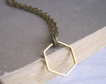 Simple Golden Hexagon necklace - small fine honeycomb charm - minimalist jewellery - nickel free - SALE