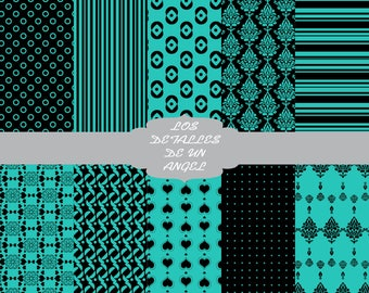 Digital paper kit blue and Black / Blue and Black Digital Paper Kit