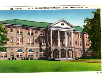 JAMES MADISON UNIVERSITY, Junior Hall,  One of the Dormitories of Madison College, Harrisonburg Virginia Vintage Unused Postcard