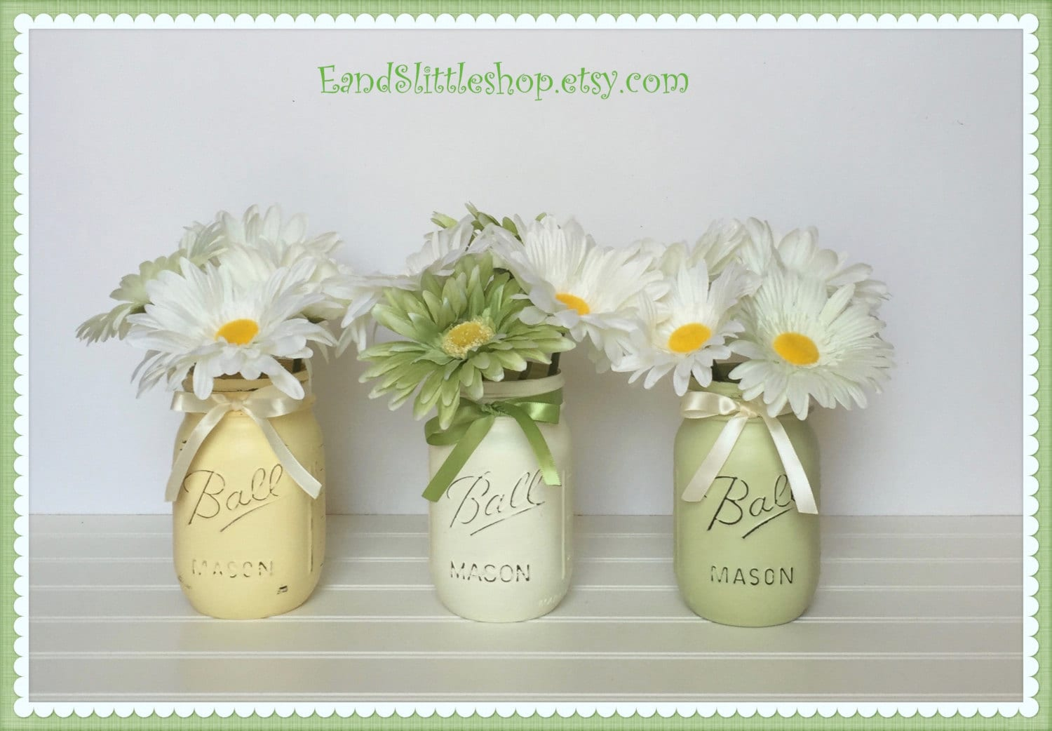 Spring Mason Jar Set Easter Decor Shabby Chic