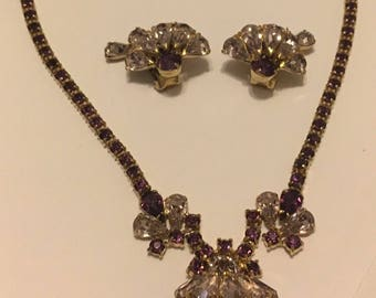 Beautiful Purple and Lilac Rhinestone Necklace & Earrings in Gold Tone Setting.