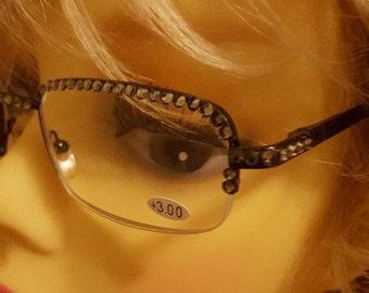 Glamour Swarovski adorned reading glasses - Black Diamond Elegance with Swarovski  Case