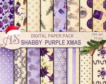 Digital Shabby Chic Christmas Pack, 16 printable Digital Scrapbooking papers, new year Digital Collage, decoupage, Instant Download, set 248