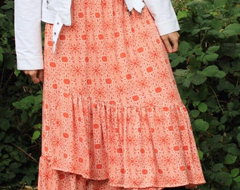 Maxi Skirt - High Low Wrap - Soft Feel - Woman's Clothing - Custom Made to Fit YOU - Elastic Waist - Modest Long Skirt - Orange Fall Skirt