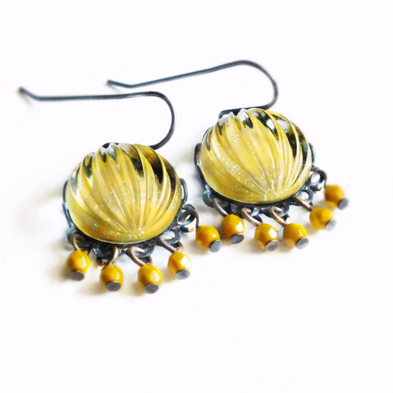 Mustard yellow chandelier earrings vintage sparkling domed ribbed yellow glass chandelier earrings gallery photo gallery photo gallery photo gallery photo gallery photo arubaitofo Choice Image