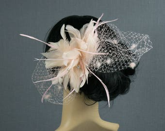 Soft Pink Feather Bridal Hair Fasinator Pink Tulle Bird Cage Head Piece Vintahe 1920's Statement Piece
