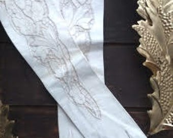 Vintage Ivory Victorian Cut Out Leather Gloves / Long Gloves / Size XS 6.3 / Fancy Gloves / Burlesque / Formal / Evening