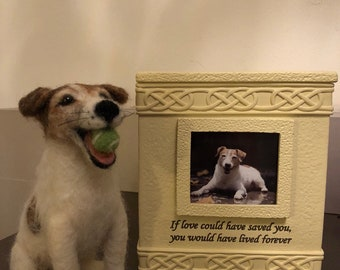 Custom Dog Memorial Needle felted pet portrait Sculpture Jack Russell Terrier or any breed